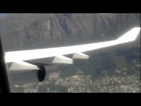 Awesome fly over Table Mountain in Cape Town on Lufthansa Airbus A340-300