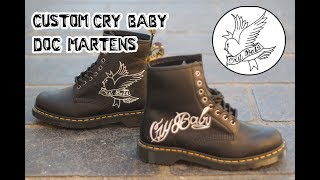 Complete Custom | Lil Peep 'Cry Baby' Doc Martens by Khameleon