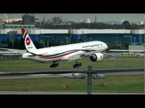 New Biman Bangladesh 777-300ER landing Heathrow HD