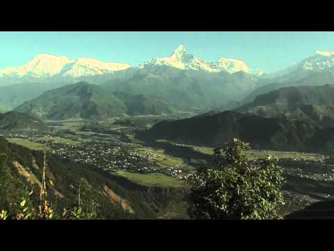 Viewing the mountains of Nepal at sunrise in Pokhara