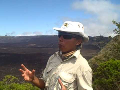 Dario explains the formation of sierra negra crater in galapagos