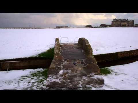 Snow Swilcan Bridge Old Golf Course St Andrews Fife Scotland