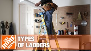 Man using a ladder to complete a home improvement project.