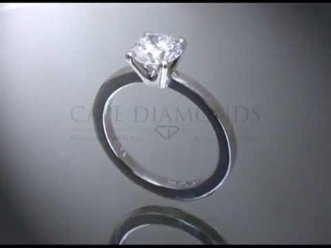 Solitaire ring,round diamond,plain band,platinum,engagement ring