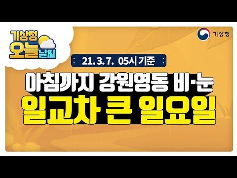 [오늘날씨] 오늘 아침까지 강원영동 눈, 아침은 쌀쌀 낮에는 포근, 구름많고 일교차 큰 날씨, 3월 7일 5시 기준