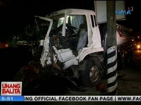 UB: Driver ng oil tanker, sugatan matapos sumalpok sa truck at poste ng kuryente
