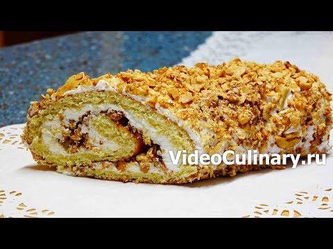 Простой бисквитный рулет с орехами — рецепт  Бабушки Эммы