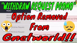 Gnetworld Important Update WITHDRAW PROMO BALANCE Option Remove