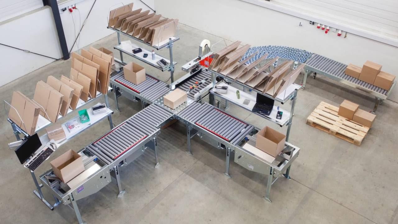 Pneumatische Packtische mit Kartonverschließer