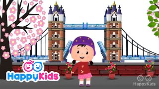 London Bridge Is Falling Down - Nursery Rhymes For Kids and Children With Lyrics | HappyKids