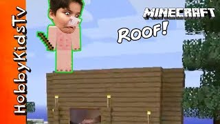 Minecraft BIGGER HOUSE Build! New Roof w.HobbyPig Part 3 Family Friendly Fun Video Game HobbyKids
