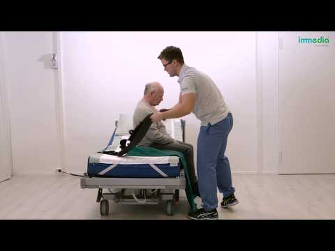 Transfer legs into the bed using OneManSling and MultiGlide
