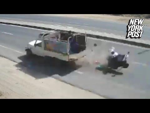 Accident cu motorul filmat live