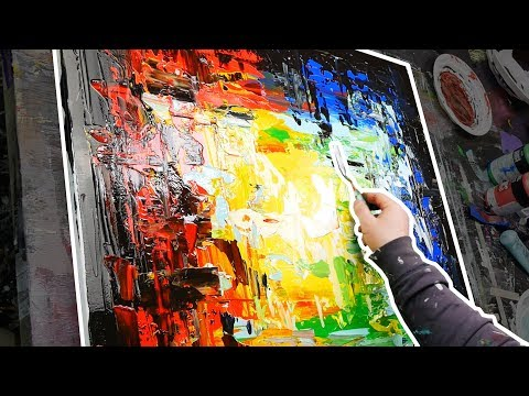 Abstract Painting Acrylics demonstration | Step by step painting only with Palette Knife | Tunnel
