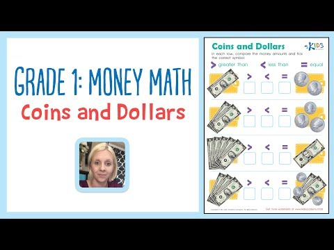 Grade 1: Money Math - Coins and Dollars worksheet | Kids Academy