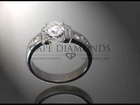 Simple side stone ring,round diamond,diamond on sides,diamonds on band,platinum,engagement ring