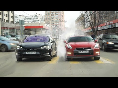 ПАССАЖИРЫ В ШОКЕ! Гонка TESLA Model S vs NISSAN GT-R  - КТО БЫСТРЕЕ?