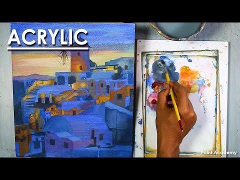 Acrylic Painting : A Greece Landscape (Santorini)