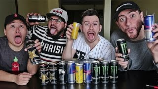 BLIND ENERGY DRINK TASTE TEST CHALLENGE!!