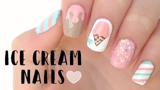 Cute Summer Ice Cream Nails | DIYDazzleNails