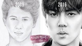 Portrait Drawing Progress: Age 14-21 - by Taylor Brooker Art