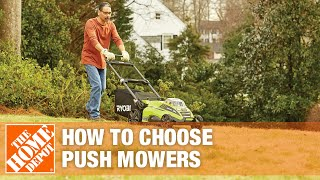 A video showing features and benefits of push mowers.