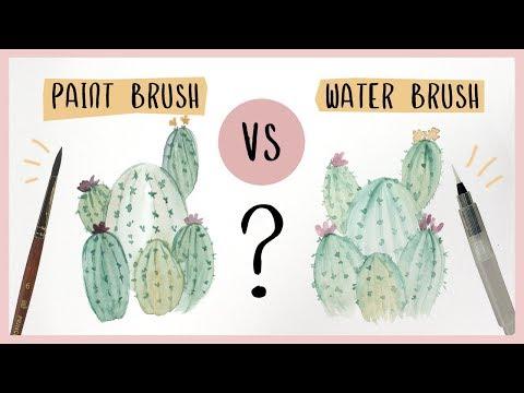 Watercolor Cactus Tutorial - Paint Brush vs. Water Brush?