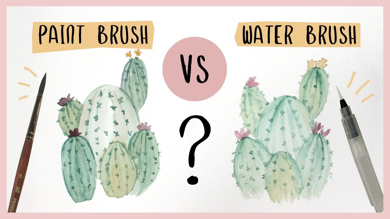 Watercolor Cactus Tutorial - Paint Brush vs. Water Brush?
