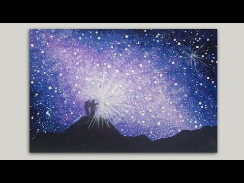 Galactic Sky and Angel Acrylic Painting on Canvas / Silhouette Painting Tutorial