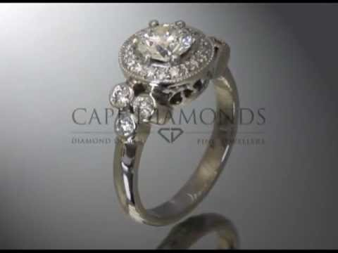 Complex stone ring,round diamond,round fitting,3 side stones,engagement ring
