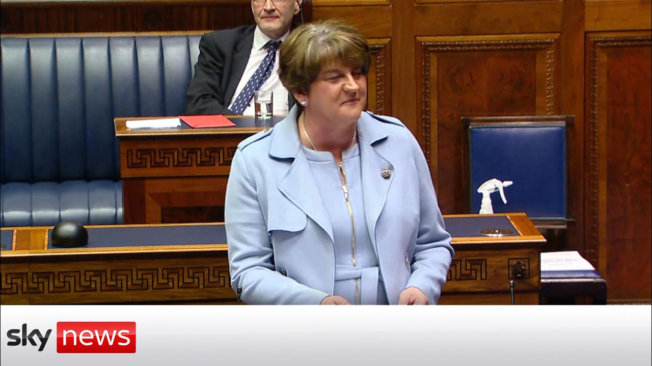 DUP's Arlene Foster formally resigns and criticises Northern Ireland Protocol