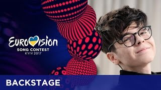 Kristian Kostov from Bulgaria shows his stage outfit