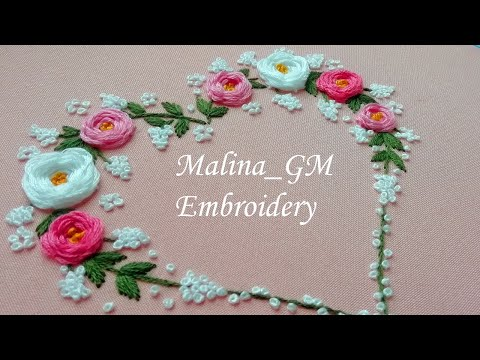 Flower Heart | Hand Embroidery | top stitches | design by malina_gm
