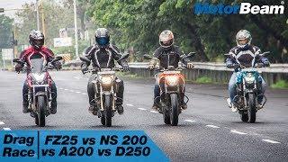 Yamaha FZ25 vs Pulsar NS 200 vs Apache 200 vs Duke 250 - Drag Race   MotorBeam