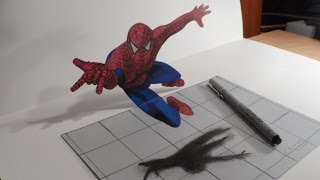 3D Drawing Spiderman - Trick Art Draw Heroes - How to Draw 3D Spiderman