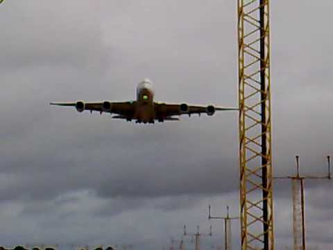 A380 Edinburgh Airport Scotland Landing Trials