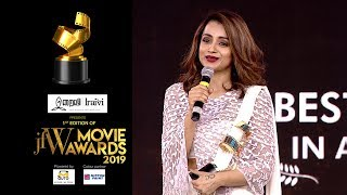 Fans Have Always Stood By Me! Trisha Krishnan At JFW Movie Awards | Best Actress For 96