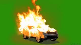 Car on Fire -  Burning Car - green screen