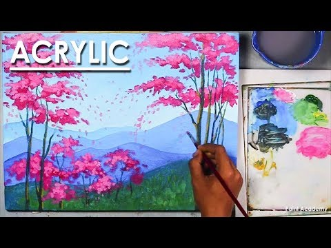 Beginners Acrylic Techniques : Mountains & Cherry Blossom Trees | Easy steps to follow