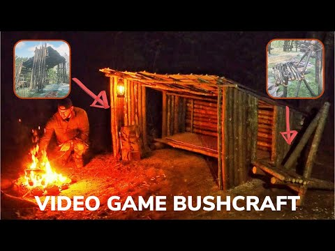 Solo Overnight Building a Trappers Cabin From Red Dead Redemption 2 and Double Ribeye with Corn