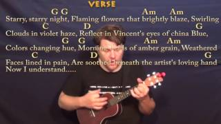 """Vincent """"Starry Starry Night"""" (Don McLean) Ukulele Cover Lesson with Chords/Lyrics"""
