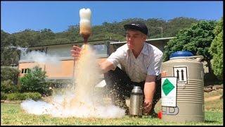 Diet Coke and Liquid Nitrogen Bottle Rockets | Make Science Fun