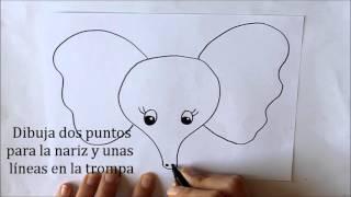 Cómo dibujar un Elefante (cara) Dibuja Conmigo Dibujos de Animales