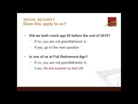 2016 03 30 14 00 How Recent Social Security Changes May Affect You yt