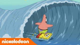 Spongebob - Patrick surft auf einem Spongebrett