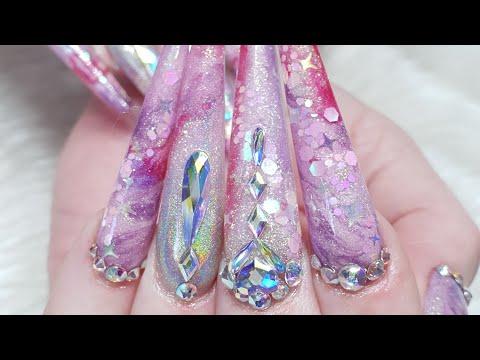 Extreme Length Acrylic Nails - Unicorn Galaxy - Arcylic Marble - Glitter - Swarovski Crystals