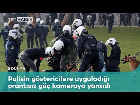 Belçika'da kısıtlamaları protesto eden göstericilere polis şiddeti