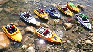 """RC ADVENTURES - Tiny Jet Boats Racing - PT 2 of 2 - MAiN EVENT - CREEK RACES! NQD """"Tear Into"""" Boats"""