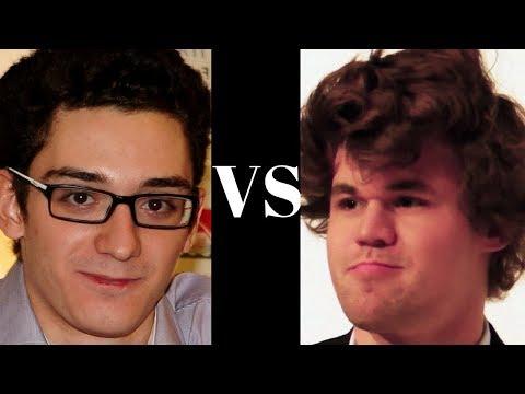The Challenger meets the World Chess Champion! | Fabiano Caruana vs Magnus Carlsen GRENKE (2018)