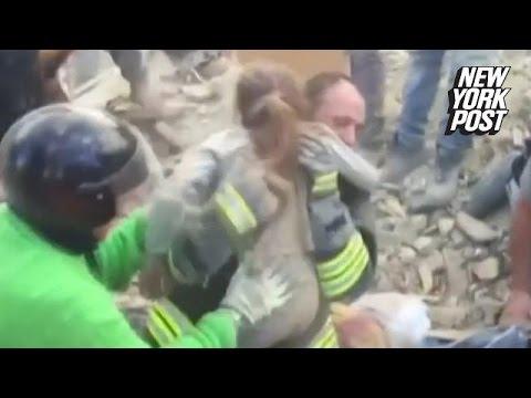 O fetita salvata de sub daramaturi (cutremurul din Italia)